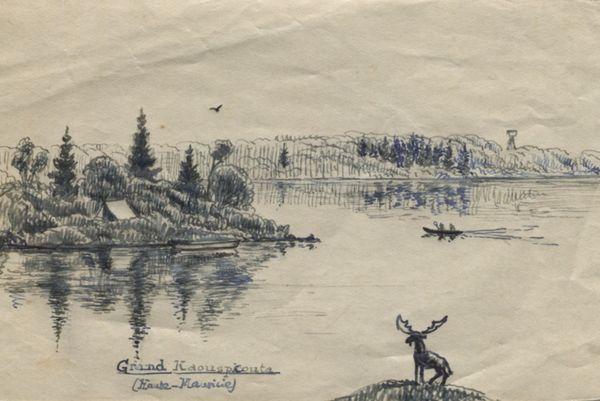 Maurice Genevoix inspiré par un paysage canadien.
