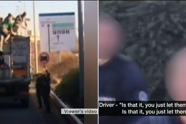 A gauche, des migrants qui montent dans un camion. A droite, le dialogue avec les policiers.