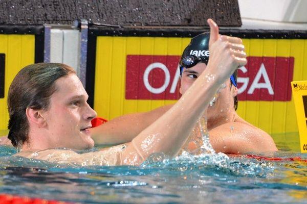"""Chartres (Eure-et-Loir) - Le Nîmois Yannick Agnel est champion d'Europe de 400m nage libre en petit bassin en 3'37""""54 - 22 novembre 2012."""