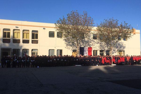 L'hommage à Norbert Savornin, sapeur-pompier, à Marignane.