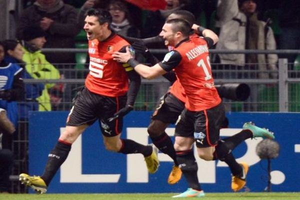 Rennes - Julien Féret marque à la 7e minute de jeu contre Montpellier - 16 janvier 2013.