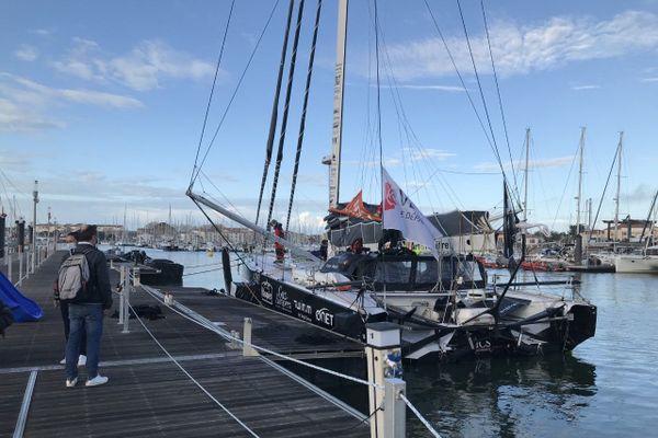 Fabrice Amedeo de retour au ponton aux Sables d'Olonne, le 9 novembre 2020