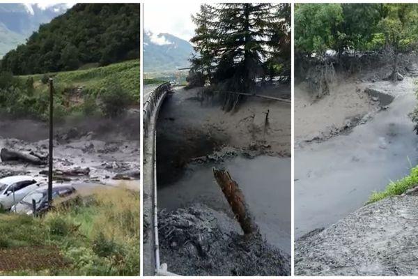 La rivière s'est transformée en torrent de boue.