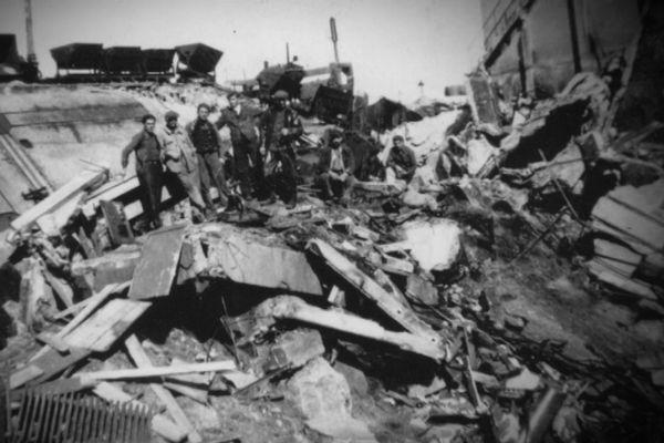 La ville de Migennes après les bombardements de 1944