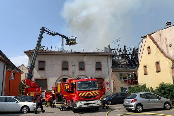 Incendie à Soultz, en plein centre-ville.