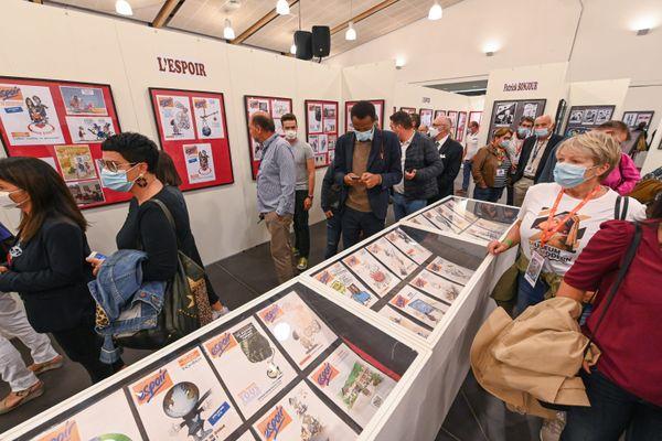 Salon du dessin de presse et d'humour à Saint-Just-le-Martel en septembre 2021. La commune et Limoges postulent pour accueillir la maison européenne du dessin de presse.