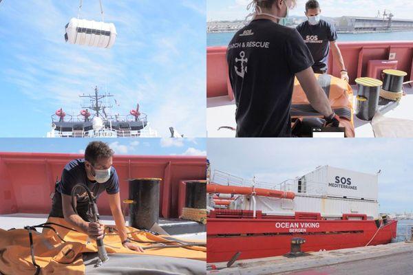 La mise en place du nouveau protocole sanitaire à bord de l'Ocean Viking a nécessité des préparatifs spécifiques.