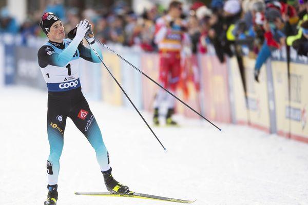 Lucas Chanavat après sa deuxième place à Davos le 14 décembre.