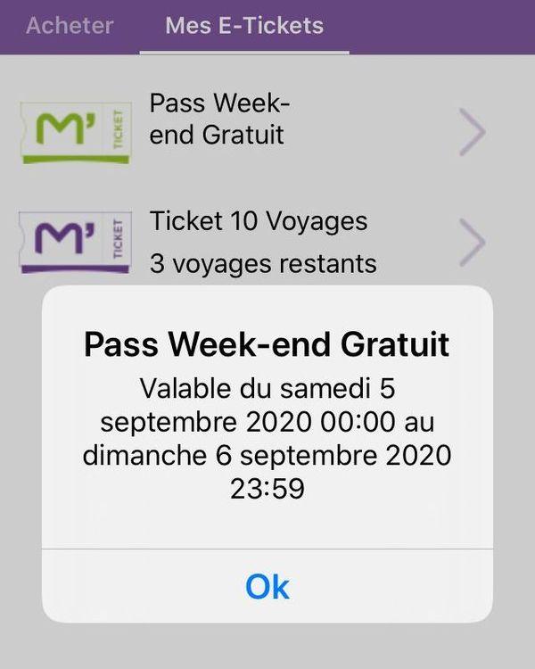 Le pass weekends électronique gratuit de la TAM Montpellier.