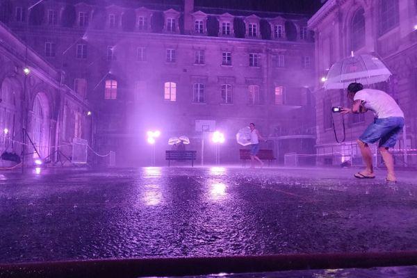 """""""Purple Rain"""", une installation en hommage au morceau de Prince."""