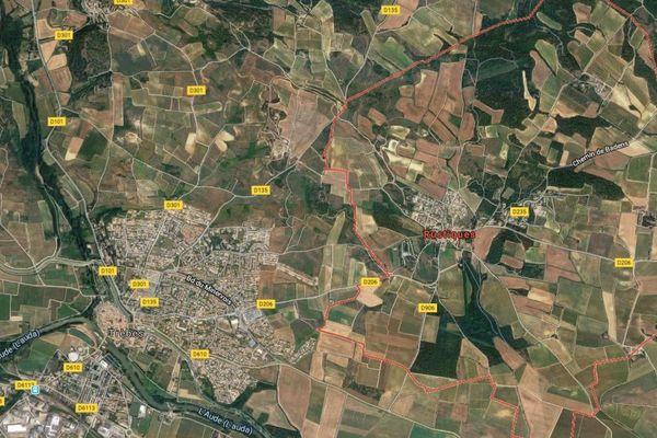 La commune de Rustiques, à l'est de Trèbes dans l'Aude