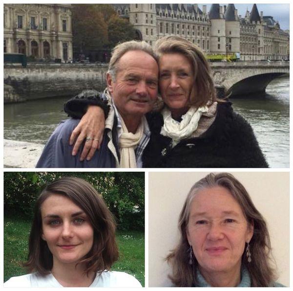 En haut : Rachel Shamash et son conjoint. En bas à gauche : Amy McArthur. En bas à droit : Alice Loftie.
