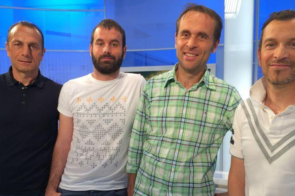 Michel Der Zakarian, A. Clément (l'Equipe), P. Audouin (RTL) et Anthony Brulez votre serviteur