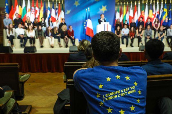 Discours sur l'Europe du président français Emmanuel Macron à la Sorbonne, Paris, le 26 septembre 2017.