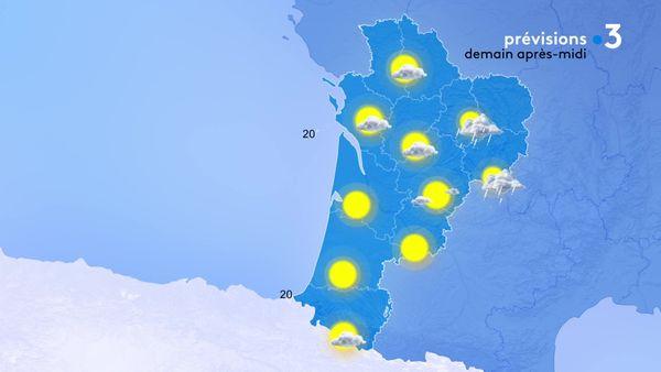Grand soleil sur la moitié sud de la Nouvelle - Aquitaine alors que les nuages seront plus nombreux au nord et donneront des averses à l'est.