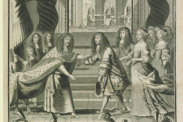 Détail d'une gravure de Nicolas de Poilly. On y voit le prince de Condé accueillant le roi de Pologne. À l'arrière plan, on voit les domestiques s'affairer : l'un d'eux est probablement François Vatel.