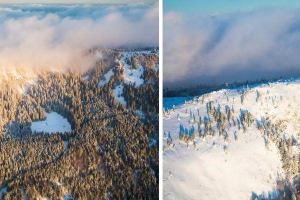Les Vosges enneigées vues du ciel, un coeur forestier dans le massif du Tannet