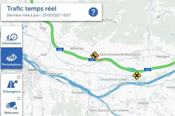 L'autoroute A85 a été coupée dans le sens Tours vers Angers