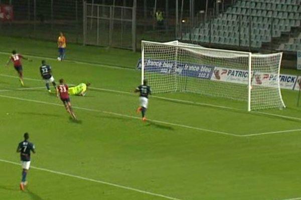 A la 61ème minute, suite à une passe d'Hunou, Diedhiou marque du plat du pied. Résultat du match : un partout.