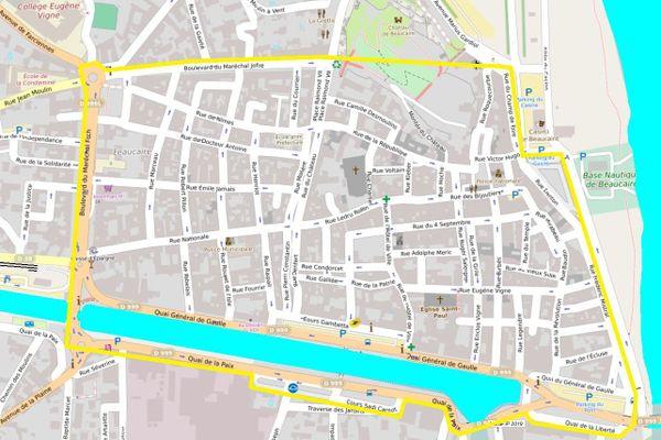 Beaucaire (Gard) - périmètre du port du masque obligatoire.