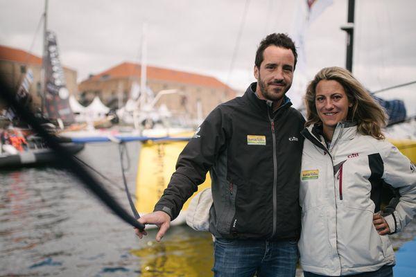 Louis Burton et Servane Escoffier, skippers sur Bureau Vallée 2, à quelques jours du départ de la 13e édition de la Transat Jacques Vabre.