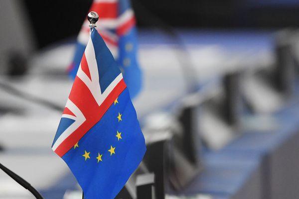 Un drapeau mi-Britannique, mi-Européen, le 22 octobre 2019 au Parlement européen de Strasbourg (image d'illustration).