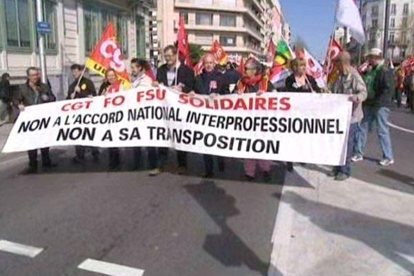 Perpignan - manifestation contre l'accord sur l'emploi - 9 avril 2013.