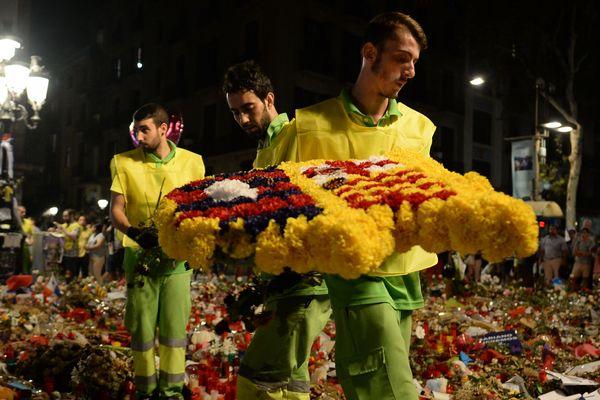 Les Ramblas de Barcelone (Catalogne), au lendemain de l'attentat du 17 août 2017.