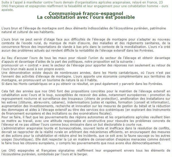 Capture d'écran du communiqué des 28 associations françaises et espagnoles, pro-ours.