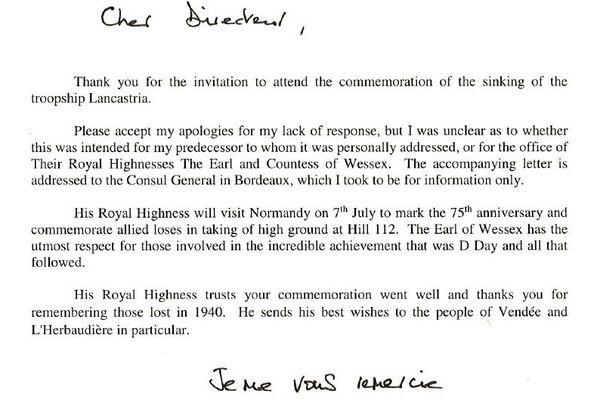 La lettre d'Edward d'Angleterre à l'ONAC suite aux commémorations du naufrage du Lancastria