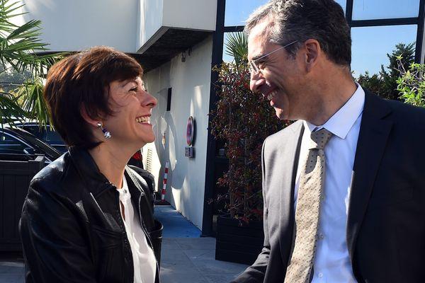 Carole Delga (PS) et Dominique Reynié (LR)