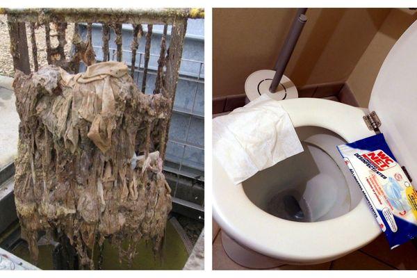 Les lingettes jetées dans les toilettes endommagent les installations et polluent l'environnement.