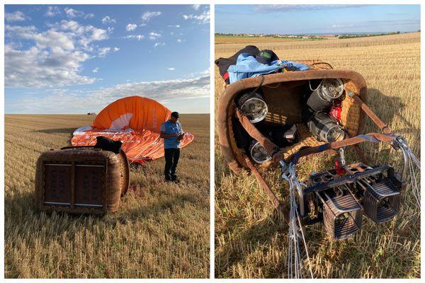Lieu d'atterrissage de la montgolfière lors d'un vol du Mondial Air Ballons
