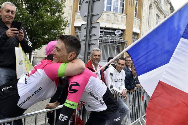 Le Loirétain Pierre Rolland, lors de la cérémonie d'ouverture du Tour de France 2018