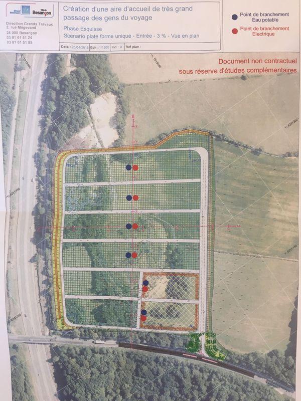 L'aire d'accueil de très grand passage des gens du voyage sera située entre la RD67 et l'A36 sur les communes de Champagney et Chemaudin-et-Vaux,