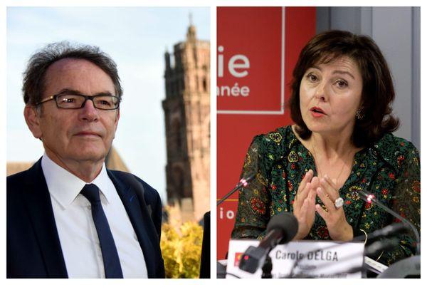 Christian Teyssèdre (LREM), maire de Rodez (Aveyron), Carole Delga (PS) présidente de la Région Occitanie.