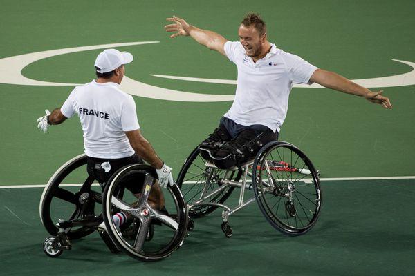 Stéphane Houdet et Nicolas Peifer lors de leur victoire aux JO de Rio, le 15 septembre 2016