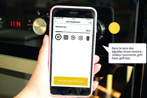 L'application peut aider à utiliser des appareils électroménagers. On aperçoit la puce (en jaune) associée à un four.