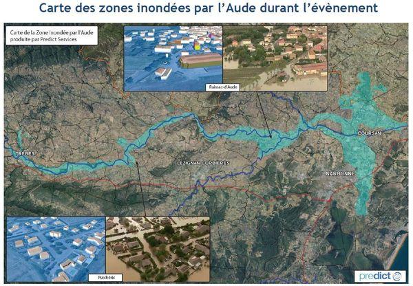 Carte des zones inondées par l'Aude durant l'évènement - octobre 2018.