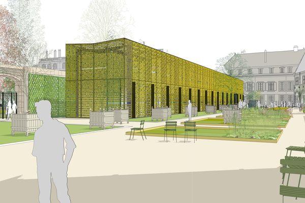 Une des deux versions du projet. Le mur du XVIIIe siècle est conservé derrière la halle d'accueil en verre sérigraphié.
