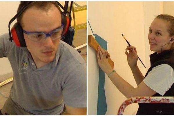 """Alexandre, apprenti """"Installations et équipements électriques"""" et Amandine, apprentie """"Peinture et revêtements""""."""