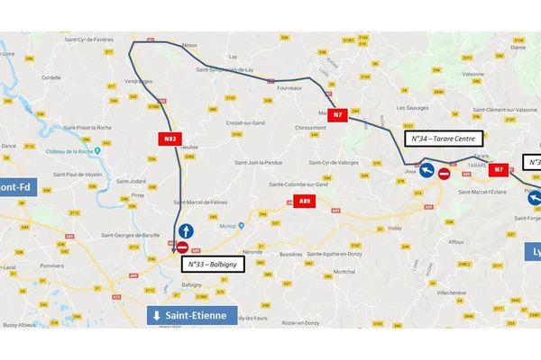 Fermeture des trois tunnels sur l'A89 entre Balbigny et La Tour-de-Salvagny du 16 au 19 septembre 2019