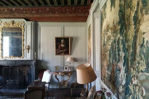 Dans le grand salon, tapisseries et mobilier d'Aubusson