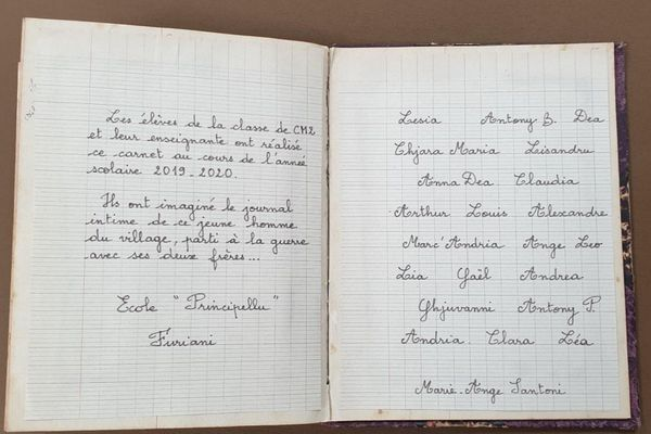 Dernière page du carnet intime de Paul Marietti, imaginé par les élèves de CM2 de Furiani.