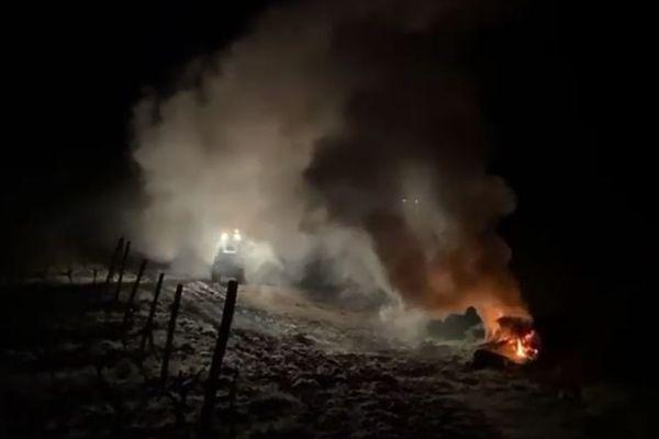 Vendredi 9 avril, pour sauver sa vigne, Yves Canarelli a fait brûler des ballots de foin sur son exploitation.