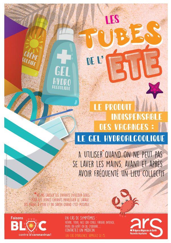 Sur ses affiches, l'ARS Nouvelle-Aquitaine invite les personnes symptomatiques à contacter un professionnel de santé.