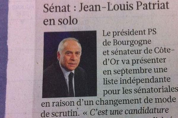 Le sénateur François Patriat a été rebaptisé Jean-Louis dans l'édition du Figaro du lundi 25 novembre 2013