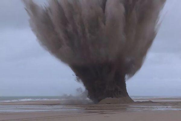 En janvier 2020, deux blocs de défense ont été neutralisés sur la plage de Wissant