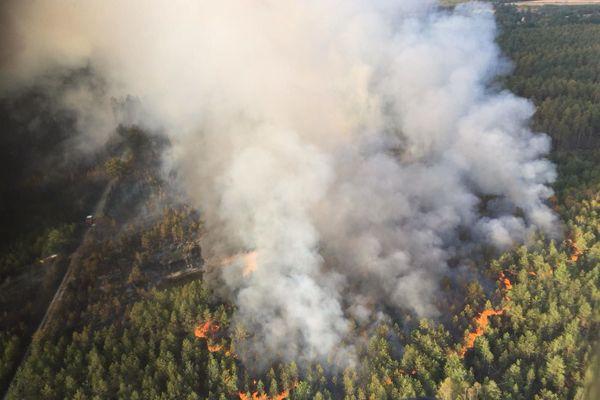 L'incendie de Souesmes ce lundi 14 septembre.