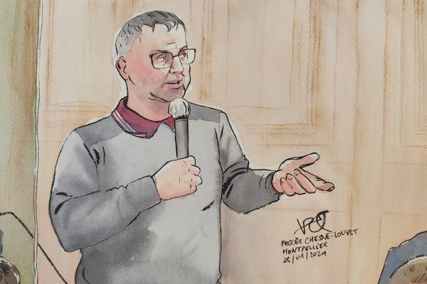 Procès de la grotte sanglante à Sète : Rémi Chesne témoigne dans le box des accusés aux assises de l'Hérault - 25 janvier 2021.